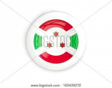 Flag Of Burundi, Glossy Round Button