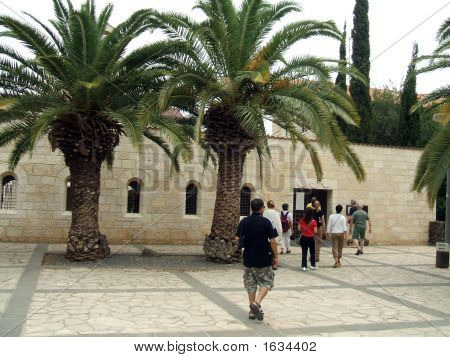 Tourists  Entering  Church In Israel