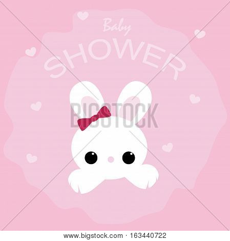 cute baby shower poster with the Bunny on a pink background. pattern for greeting or invitation. vector illustration. baby shower or arrival
