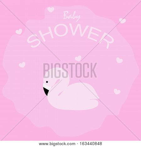 poster cute baby shower with pink flamingos. pattern for greeting or invitation. vector illustration. baby shower or arrival