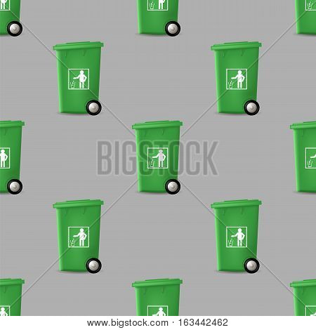 Plastic Green Trashcan Seamless Pattern on Grey Background