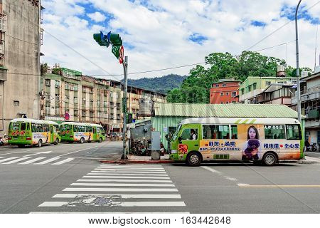 TAIPEI TAIWAN - NOVEMBER 11: This is a bus station in the Xiangshan area of Taipei near the financial district on November 11 2016 in Taipei