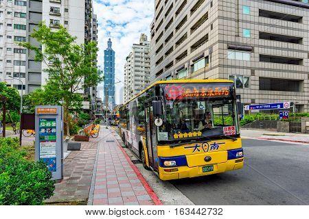 TAIPEI TAIWAN - NOVEMBER 11: This is a bus stop on Songren road near Taipei 101 financial district on November 11 2016 in Taipei