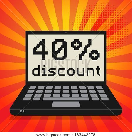Laptop or notebook computer business concept with text 40 percent discount vector illustration