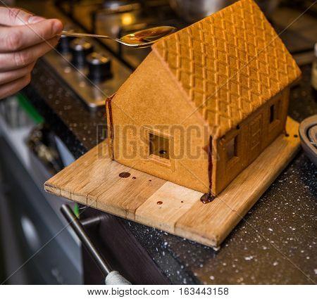 Homemade gingerbread house. Preparing for Christmas selebration