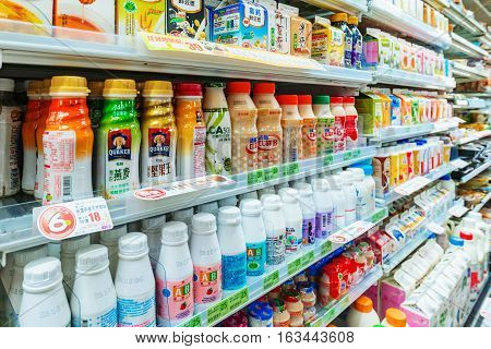 TAIPEI TAIWAN - NOVEMBER 16: This is A family mart convenience store shelf with a variety of drinks for sale on November 16 2016 in Taipei