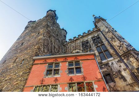 Historic Building And Granus Tower In Aachen