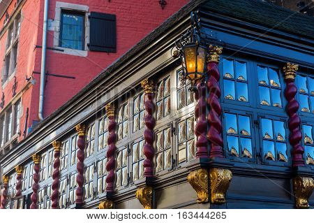 Old Building With Crown Glass Windows In Aachen
