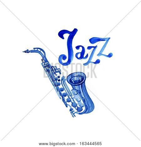 Jazz music, poster background template with saxophone.  graphic design