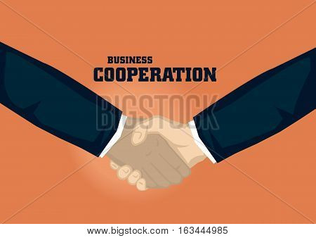 Handshake of different ethnicity. Vector cartoon for business illustration on business cooperation concept isolated on orange background.