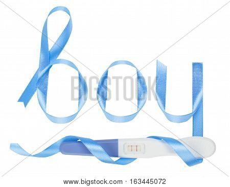 Word boy written gift ribbon blue. A positive pregnancy test. White background, isolated