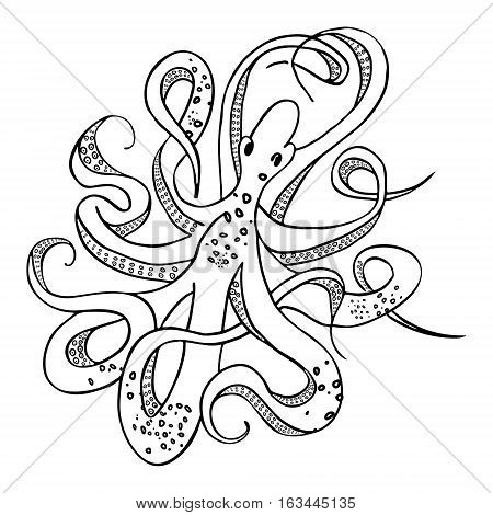Giant octopus with eight tentacles floating in the ocean depths. Hand drawing. Vector illustration. Isolated on the white background.