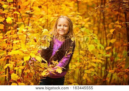 beautiful girl smiling in the autumn on the nature