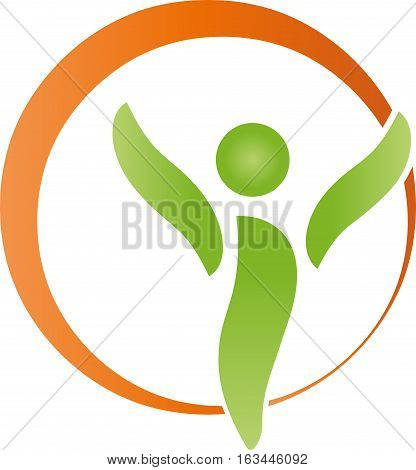 A person and circle, sports medicine and health logo