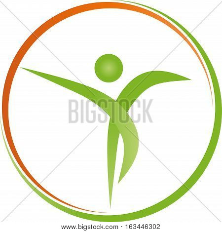 A person and circle, sports medicine and fitness logo