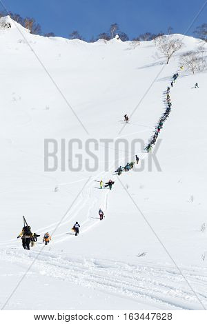 KAMCHATKA PENINSULA RUSSIA - MARCH 9 2014: Large group of sportsmens - skiers and snowboarders climbing the steep mountain for freeride. Competition Kamchatka Freeride Open Cup on Russian Far East.