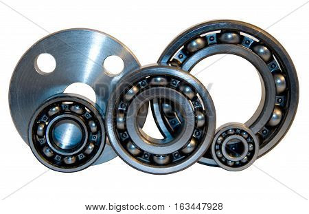 Flange and four bearings of the different size from stainless steel