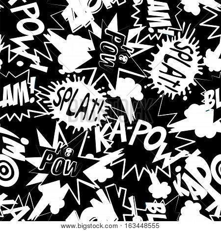 Comic book action words in a seamless pattern .