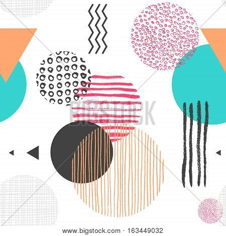 Geometric seamless pattern with circles, triangles and lines of different color, trendy abstract background. Vector illustration in 1990s style for wallpaper, backdrop, wrapping paper, textile print