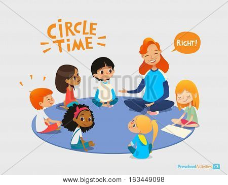 Kids listen and talk to friendly preschool teacher during educational activity in kindergarten. Learning through play and entertainment concept. Vector illustration for advertisement, banner, website.