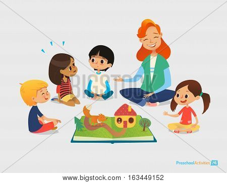 Female teacher tells fairy tales using pop-up book, children sit on floor in circle and listen to her. Preschool activities and early childhood education. Vector illustration for poster, website