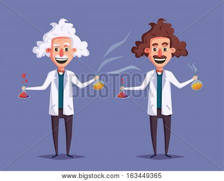 Crazy old scientist. Funny character. Cartoon vector illustration. Mad professor. Science experiment. Remote controller. Old and young man