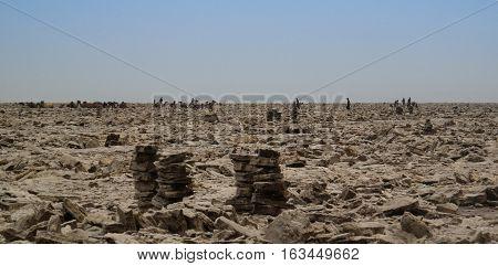 Production of salt on Karum lake Danakil Afar Ethiopia