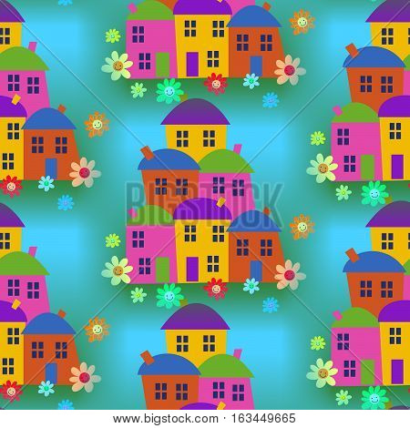 A completely seamless tile-able background design with cartoon houses.