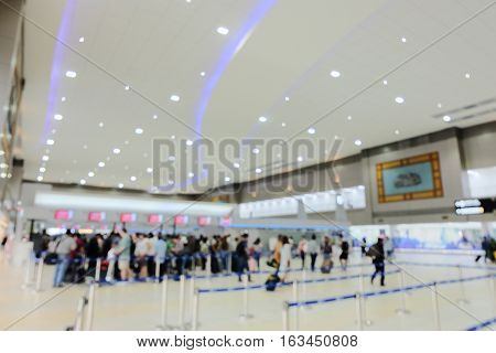 Blurred Background : Terminal Departure Check-in at airport