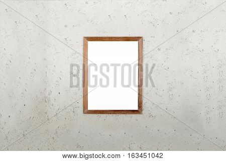 Blank wooden frame picture on cement wall background. White board.