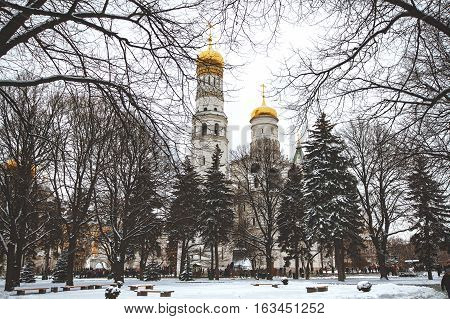 Ensemble of Moscow Kremlin. View on Kremlin cathedrals and Ivan the Great bell tower.