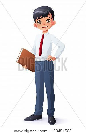 Cute and clever smiling young Asian school student boy with book. Cartoon style vector illustration isolated on white background.