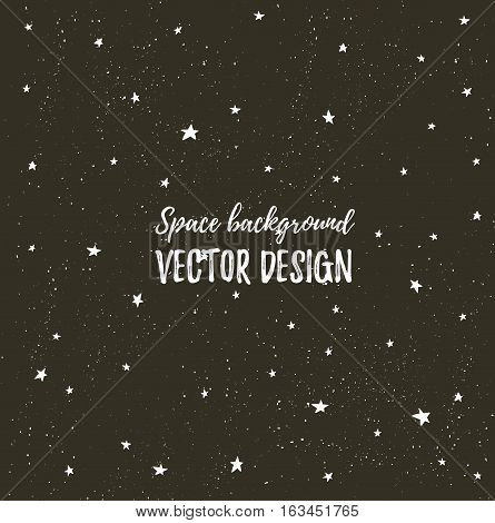 Sparkling nights sky with stars and dark space. Vector hand drawn stylish background. Hipster template for poster banner and wedding card design.
