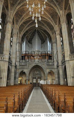 SPEYER, GERMANY - APRIL 11, 2015: Interior of gothic church in Speyer with the pipe organ.