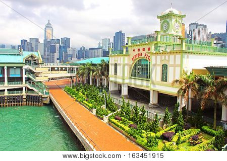 Central Ferry Pier on Hong Kong Island. Known for its Edwardian architecture, the famous pier was built to replace the former Edinburgh Place Ferry Pier