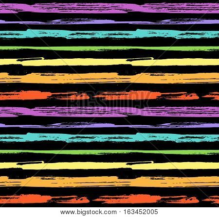 Hand drawn seamless pattern. Vector modern background stripe design. Сolorful ink strokes style.