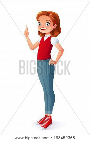 Clever smiling young teen girl got the idea and index finger pointing up. Cartoon vector character isolated on white background.