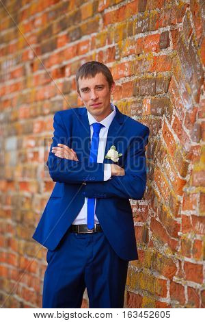 Bridegroom With Veil Smiling