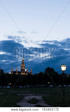 View on famous city hall, rathaus, in the evening, vienna, austria