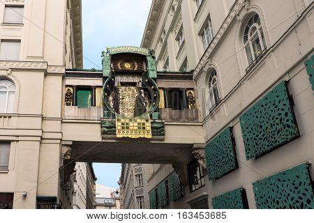 Famous astronomical clock in vienna, austria, built by franz von matsch