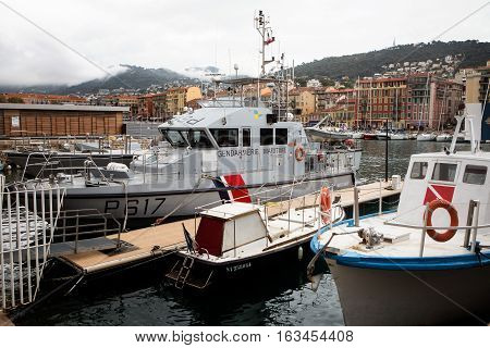 Nice France - November 5 2016: Ship of the French coastguard dock in the old port of Nice.