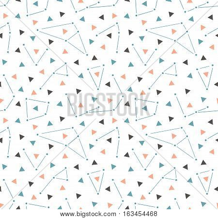 Vector triangular space background with constellations. Hipster seamless pattern with space. Simple geometric design.