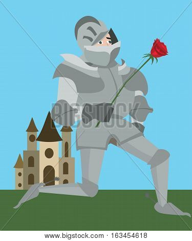 knight in armour with red rose - vector funny cartoon illustration