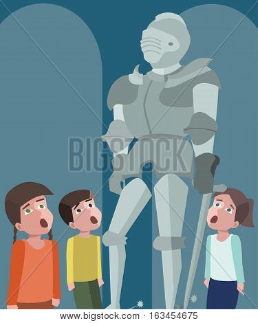 little kids at tour of the history museum - funny vector cartoon illustration
