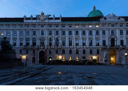 Famous hofburg palace in vienna in the evening, spanish riding school, austria