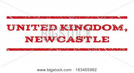United Kingdom, Newcastle watermark stamp. Text caption between horizontal parallel lines with grunge design style. Rubber seal stamp with scratched texture.