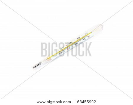 Medical glass mercury thermometer shows isolated on white. Diagonal view closeup