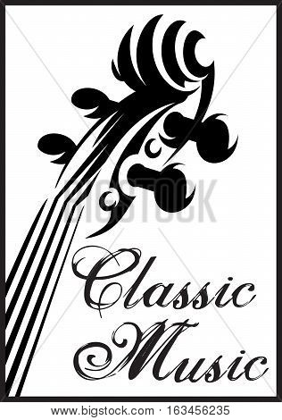 monochrome vector pattern with violin for a classical music concert