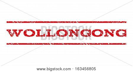 Wollongong watermark stamp. Text caption between horizontal parallel lines with grunge design style. Rubber seal stamp with dust texture. Vector intensive red color ink imprint on a white background.