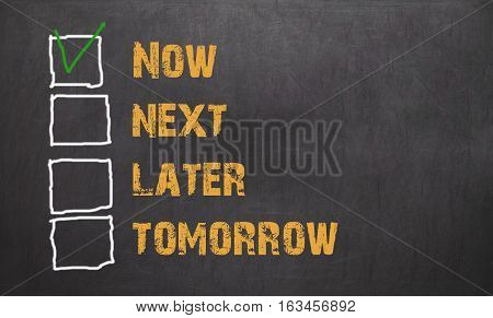 Do It Now - Business Concept On Blackboard